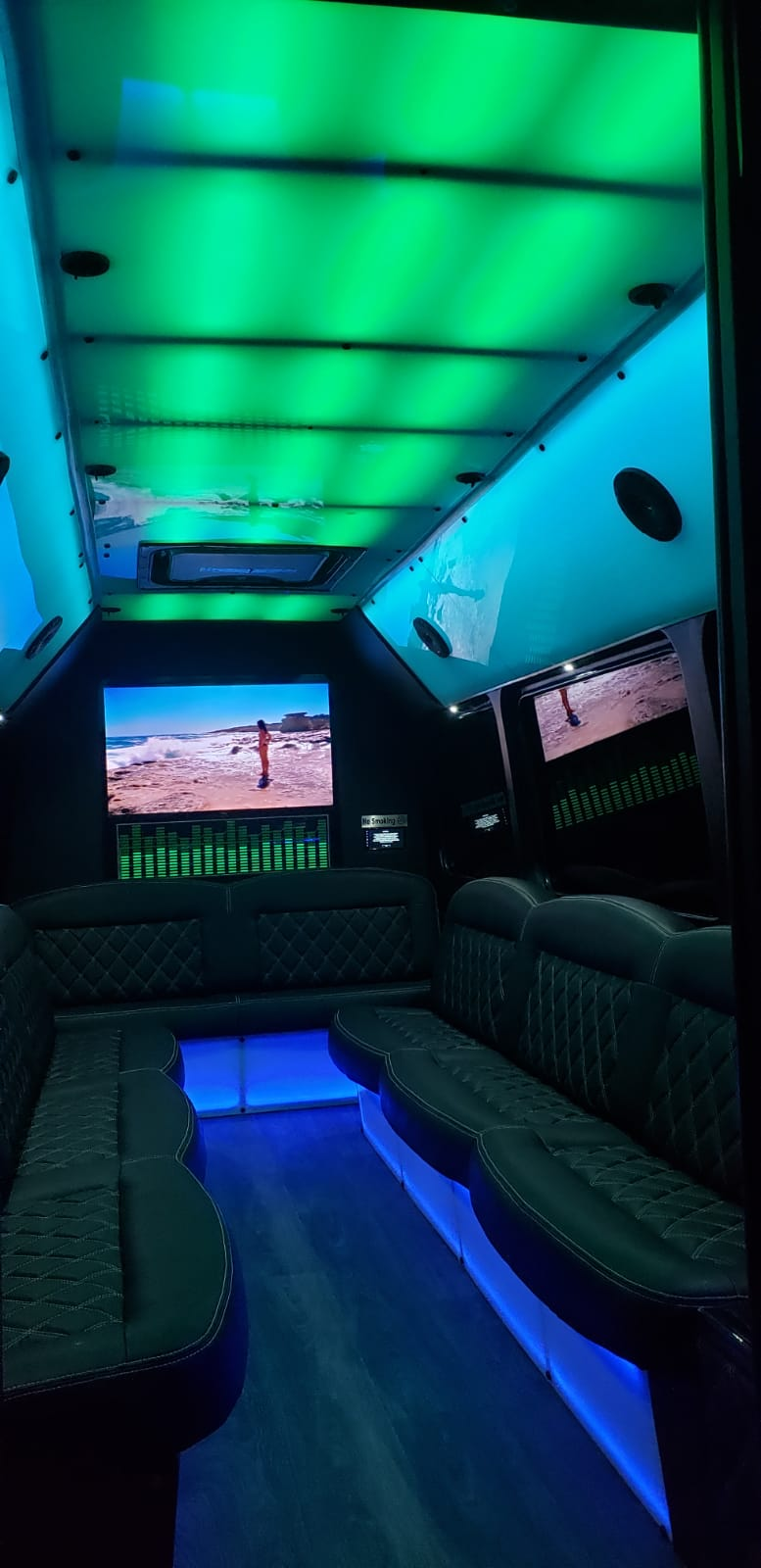 10-14 PASSENGERS PARTY BUS - Inside Led Colors Green